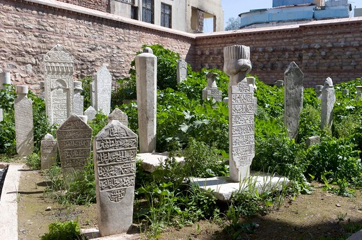 Turkey, Istanbul, Kucuk Aya Sofia mosque, tombstones in the cemetery : Stock Photo