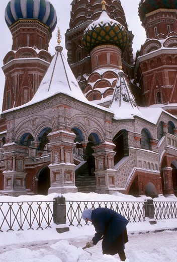 Russia, Moscow, St. Basil Cathedral in winter : Stock Photo