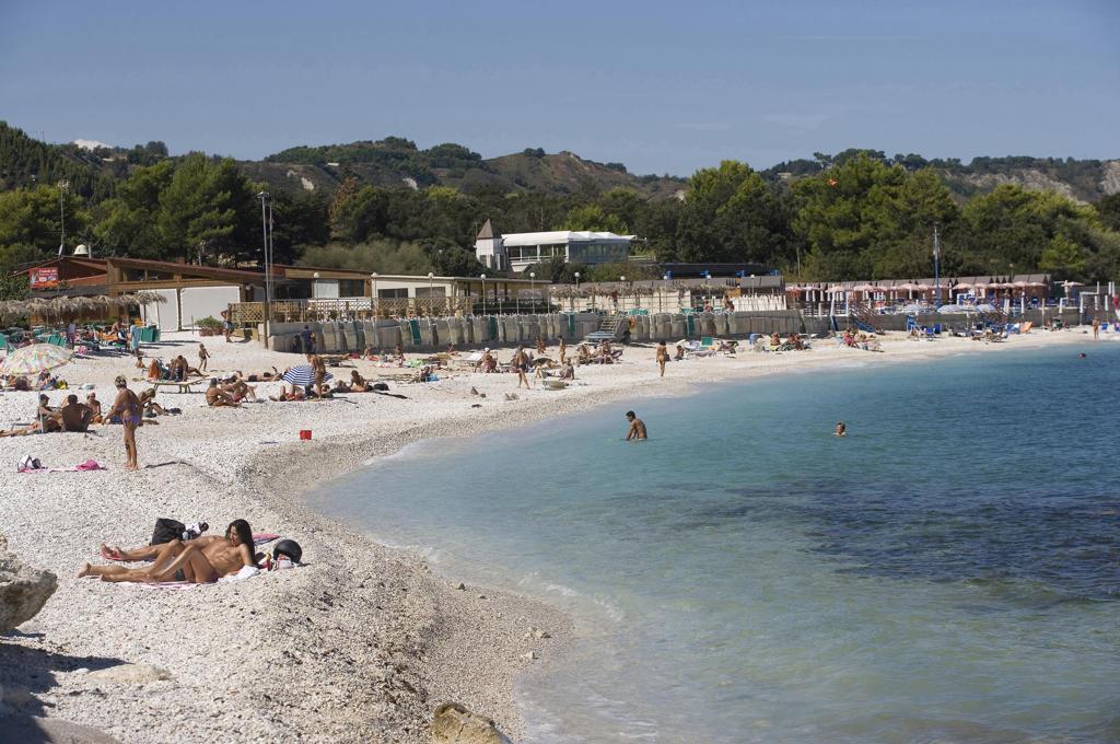 Italy, Marche, Portonovo, Beach : Stock Photo