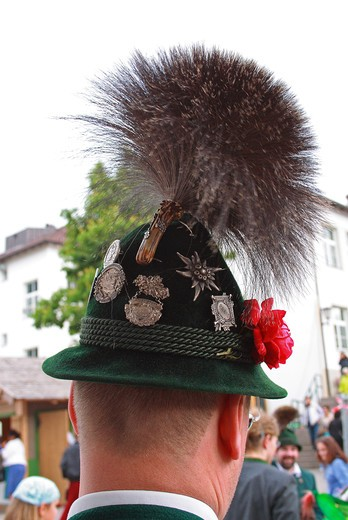 Italy, Trentino Alto Adige, Siusi, Oswald-von-Wolkenstein-Ride, Man wearing traditional hat. : Stock Photo