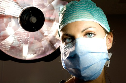 Stock Photo: 4292-104318 Close up of female doctor wearing surgical mask