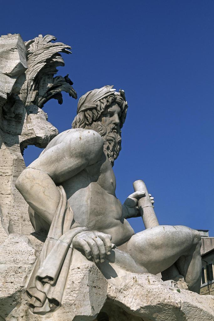 Stock Photo: 4292-104762 Italy, Lazio, Rome, Piazza Navona. Fontana dei quattro Fiumi