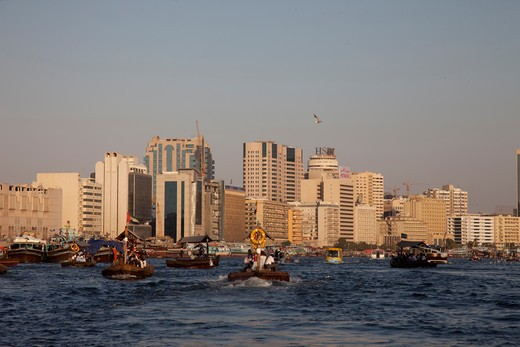 Stock Photo: 4292-1068 United Arab Emirates, Dubai, Dubai Creek, Boats