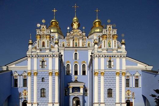 Ukraine, Kiev, St. Olga memorial and Michael's Golden-Domed Monastery : Stock Photo