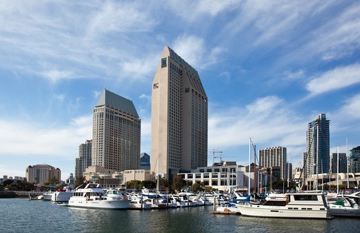 USA, California, San Diego, Seaport village and city skyline : Stock Photo