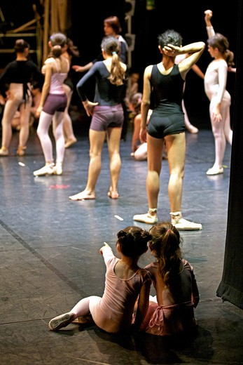 Stock Photo: 4292-109197 Rear view of two young ballet dancers