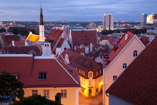 Estonia, Tallinn, Harju, Harjumaa, view over old town at dusk : Stock Photo