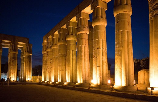 Stock Photo: 4292-113250 Egypt, Luxor, Temple of Luxor at night