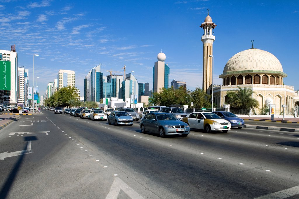 Stock Photo: 4292-113395 United Arab Emirates, Abu Dhabi, skyscrapers and mosque