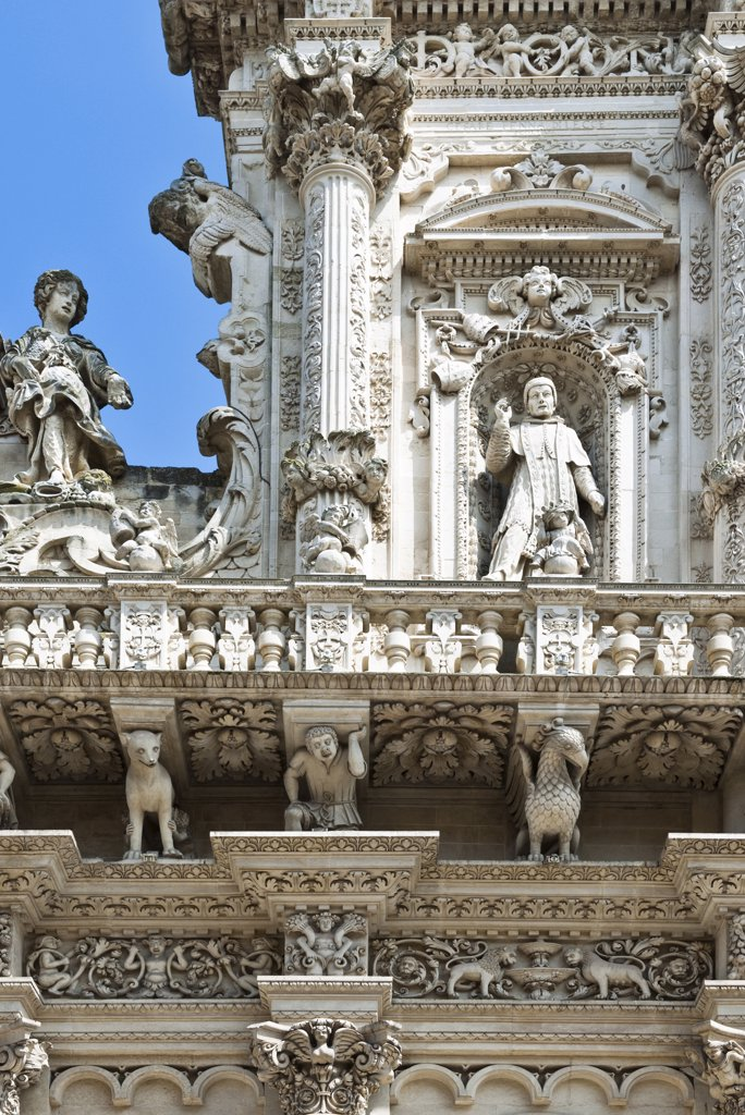 Stock Photo: 4292-114139 Italy, Apulia, Lecce, detail of Santa Croce basilica