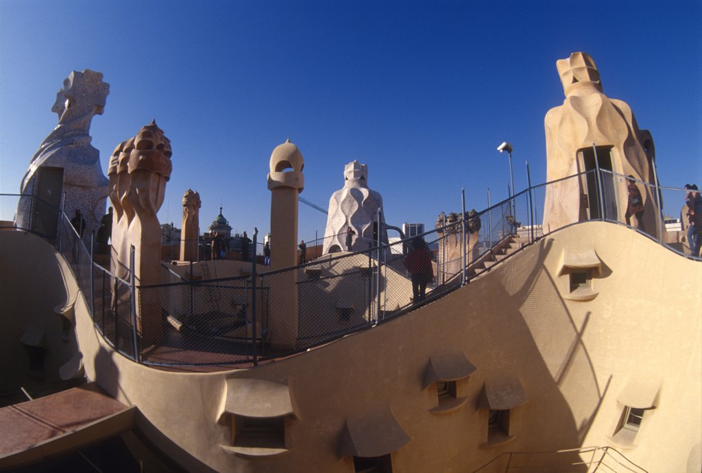 Spain, Catalonia, Barcelona, La Pedrera, Antonio Gaudi's, Casa Mila : Stock Photo
