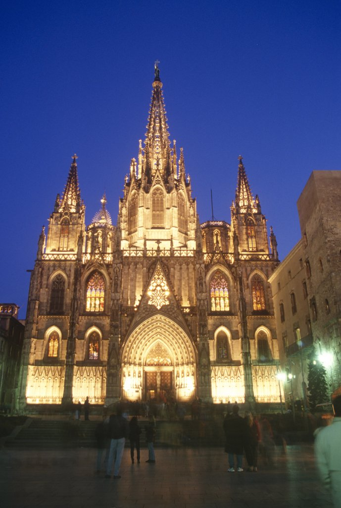 Stock Photo: 4292-116853 Spain, Catalonia, Barcelona, the cathedral at night