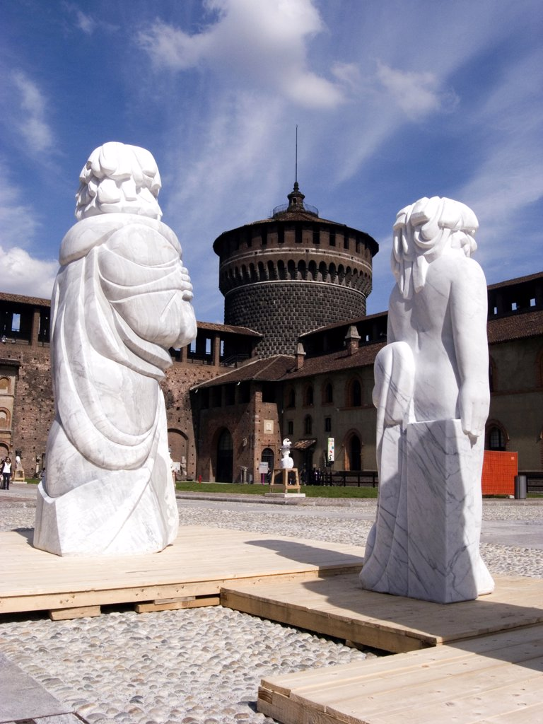 Stock Photo: 4292-116941 Italy, Lombardy, Milan, the Castello Sforzesco. Matthew Spender sculptures