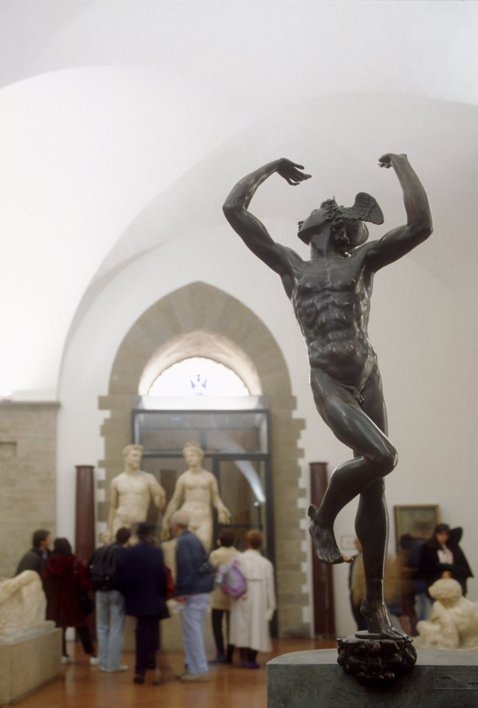 Stock Photo: 4292-117175 Italy,Tuscany, Florence, Bargello museum, Bronze Statue Mercurio Artist Benvenuto Cellini.