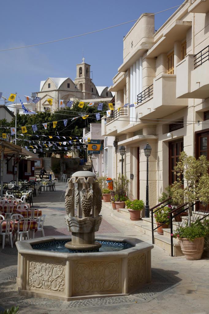 Stock Photo: 4292-118914 Cyprus. Pissouri, Village Centre, Fountain