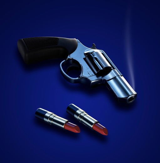 Stock Photo: 4292-11917 Revolver with lipstick bullets