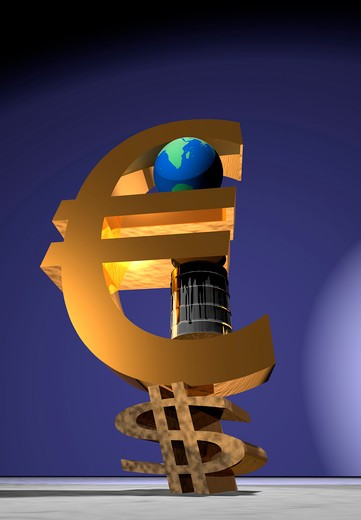 Dollar sign crushed by Euro sign, oil drums and globe : Stock Photo