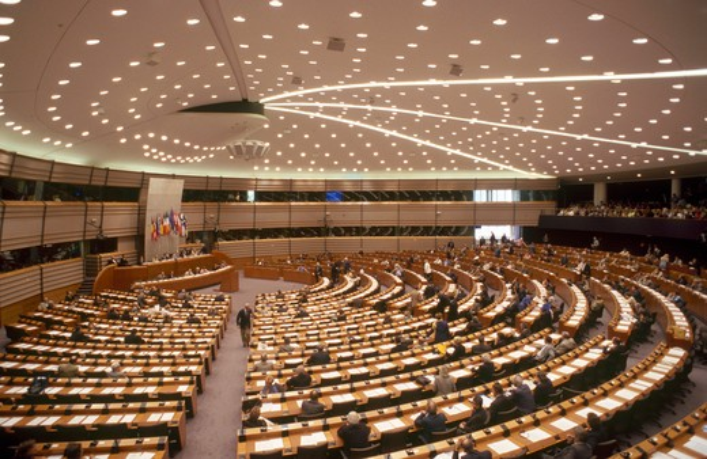 European Parliament's hemicycle, Brussels, Belgium : Stock Photo