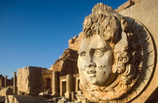 Africa, Libya, Leptis Magna, statue in the Forum : Stock Photo