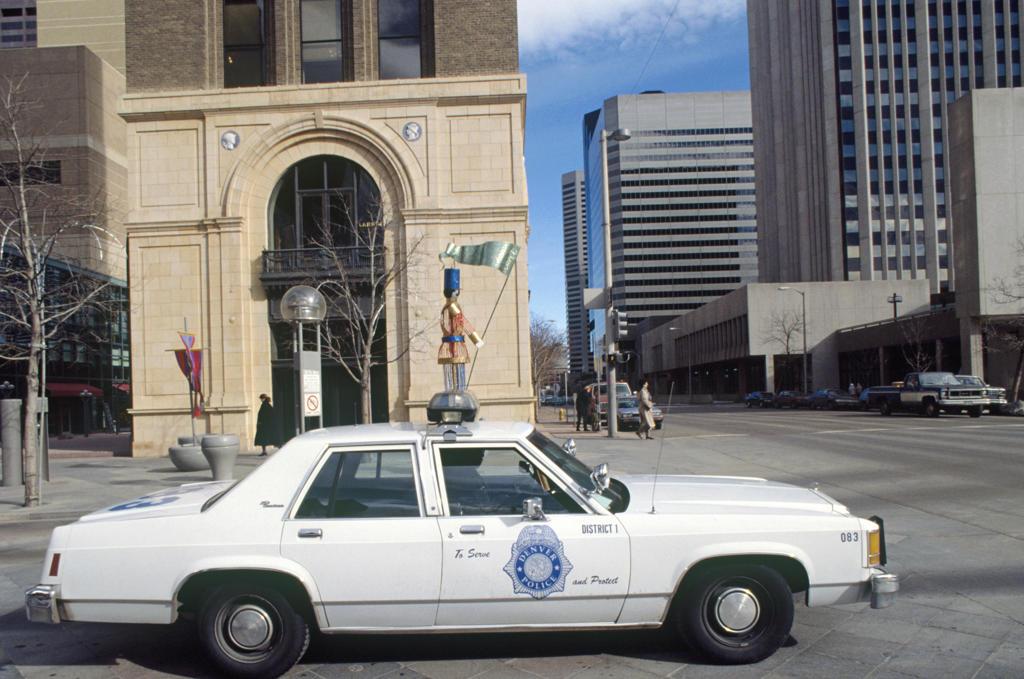 USA, Colorado, Denver, city center and police car : Stock Photo