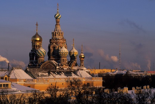 Russia, St. Petersburg, Savior Blood Church in winter : Stock Photo