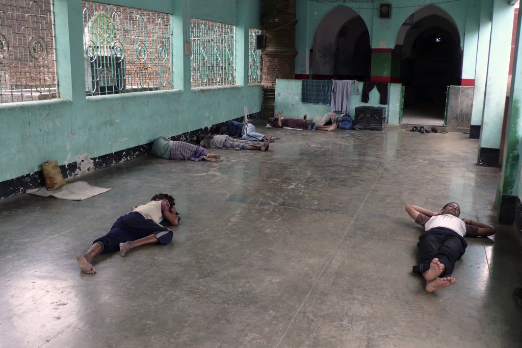 Stock Photo: 4292-122252 Bangladesh, Bagerhat, people sleeping inside mosque
