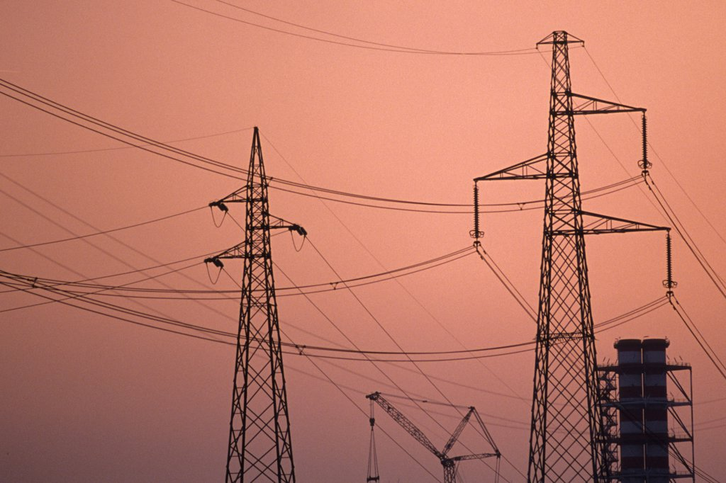 Stock Photo: 4292-122939 Power lines at sunset