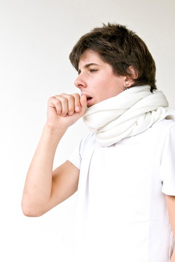 Stock Photo: 4292-124192 Teenage boy coughing