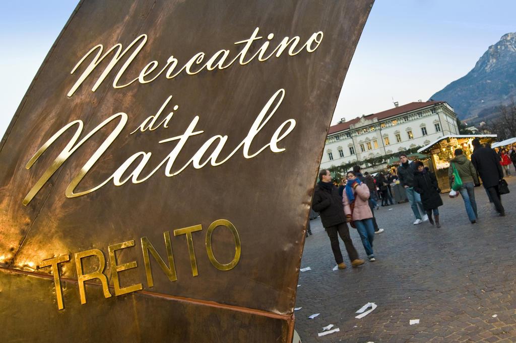 Italy, Trentino Alto Adige, Trento, the Christmas market at dusk : Stock Photo
