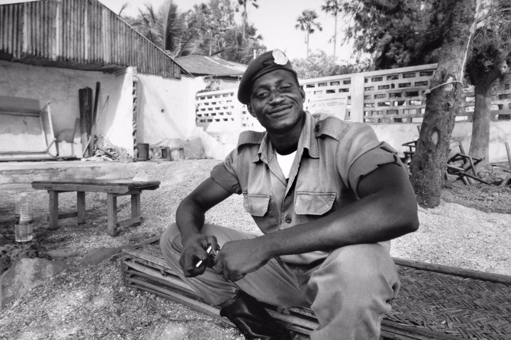 Stock Photo: 4292-124738 Africa, Gambia, Kuto, soldier