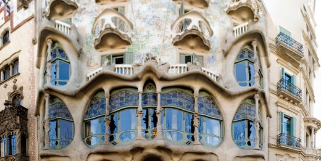 Spain, Catalonia, Barcelona, Casa Batlo, designed by Antoni Gaudi, modernist : Stock Photo