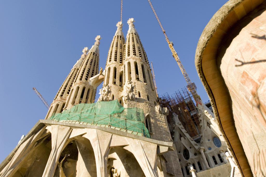 Spain, Barcelona, Antonio Gaudi's Sagrada Familia church : Stock Photo