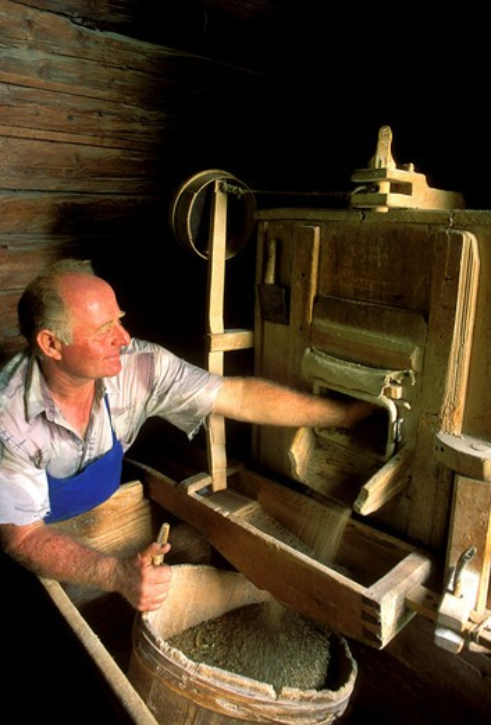 Italy, Trentino Alto Adige Alto Adige,  Val Passiria, San Leonardo in Passiria, Maso Niederstein Rye grinding machine : Stock Photo