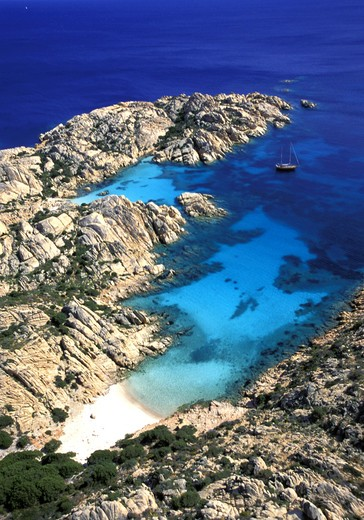 Stock Photo: 4292-12761 Sardinia, aerial view of Caprera Island. Coticcio Bay, Maddalena National park aerial view