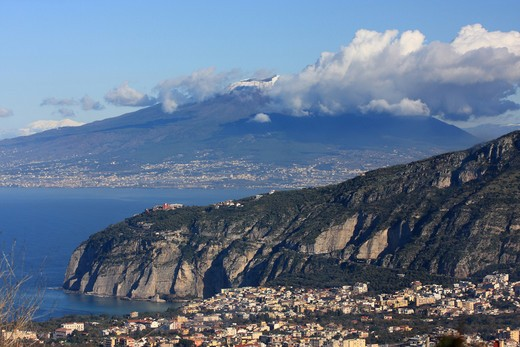 Italy, Campania, Massa Lubrense, View of the Peninsula Sorrentina and the Vesuvio from Sant' Agata sui due Golfi : Stock Photo