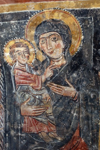Stock Photo: 4292-127882 Italy, Basilicata, Melfi, XIII century fresco of Santa Margherita church crypt