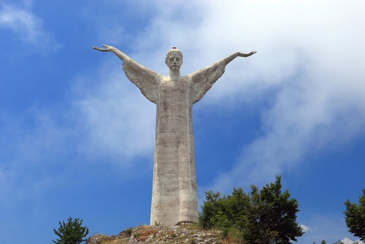 Italy, Basilicata, Maratea, Jesus Christ Redentore Statue on San Biagio Mount : Stock Photo