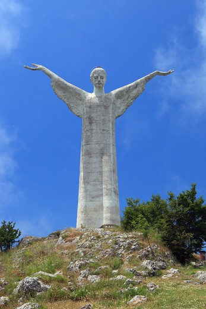 Stock Photo: 4292-128122 Italy, Basilicata, Maratea, Jesus Christ Redentore Statue on San Biagio Mount