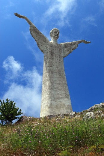 Stock Photo: 4292-128127 Italy, Basilicata, Maratea, Jesus Christ Redentore Statue on San Biagio Mount