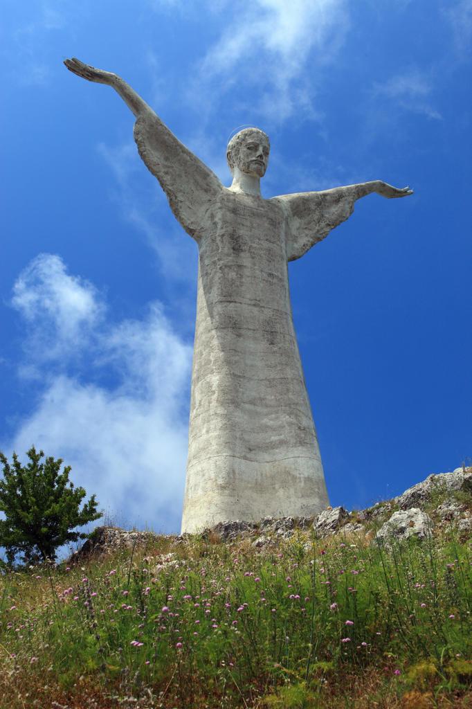 Italy, Basilicata, Maratea, Jesus Christ Redentore Statue on San Biagio Mount : Stock Photo