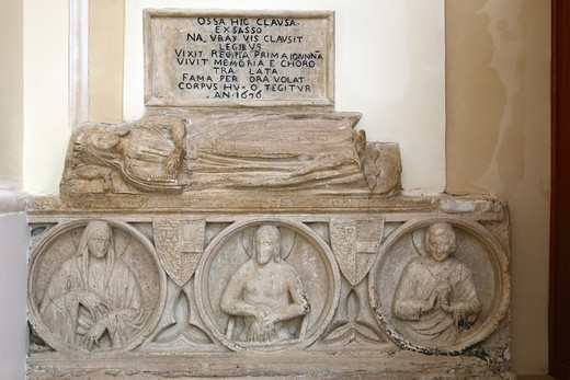 Stock Photo: 4292-128333 Italy, Apulia, Monte Sant'Angelo, San Francesco Church, Sarcophagus of Queen Giovanna