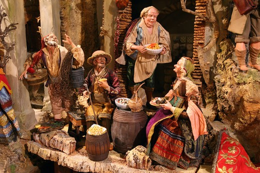 Italy, Campania, Naples, figurines of typical Naples crib, Ferrigno's workshop : Stock Photo