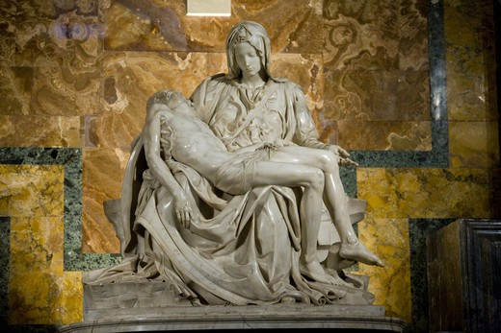 Italy, Lazio, Vatican, the Pietà of Michelangelo, interiors of Saint Peter's basilica : Stock Photo