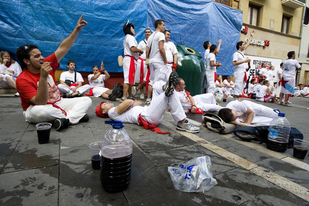Spain, Navarra, Pamplona, Fiesta. Fiesta inauguration : Stock Photo