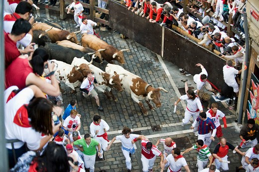 Spain, Navarra, Pamplona, Fiesta, the bull rush : Stock Photo