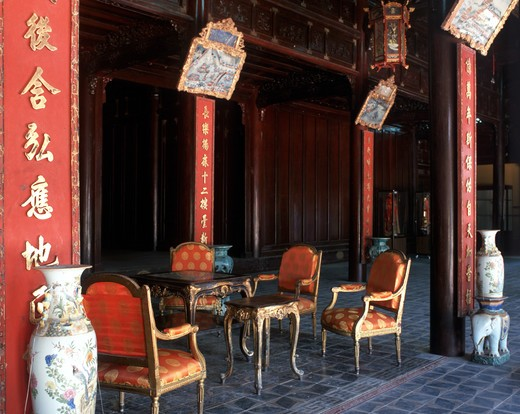 Reception Room in the Queen Mother Palace, Hue, Vietnam. : Stock Photo