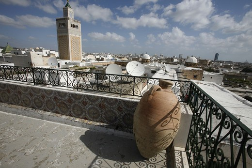 Stock Photo: 4292-129787 The minaret of the MoscheeZaytouna or big mosque in the Old Town or Medina of the capital of Tunis in the Norder of Tunisia in North Africa at the Mediterranean Sea.