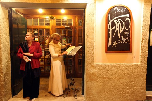 Stock Photo: 4292-129838 One of several Fado to bars with live Fadomusik and good food in the accommodation Alfama in the Old Town of Lisbon in Portugal.