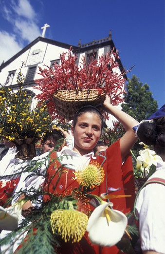 The traditional spring flower party in the capital of Funchal on the island Madeira in the Atlantic : Stock Photo