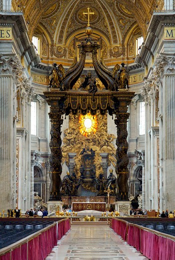Stock Photo: 4292-130327 Altar mit Baldachin des Bernini im Petersdom, Rom, Italien